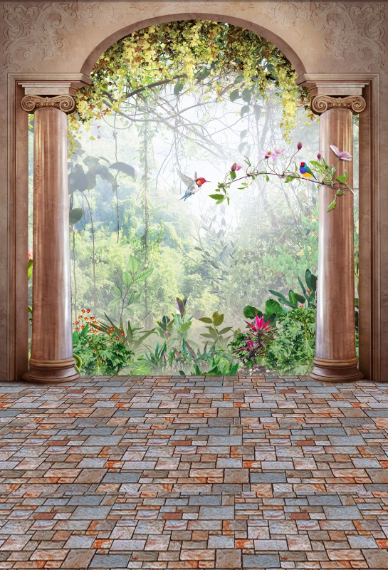 Laeacco Arch Door Park Flowers Birds Trees Photography Backgrounds Customized Photographic Backdrops For Photo Studio