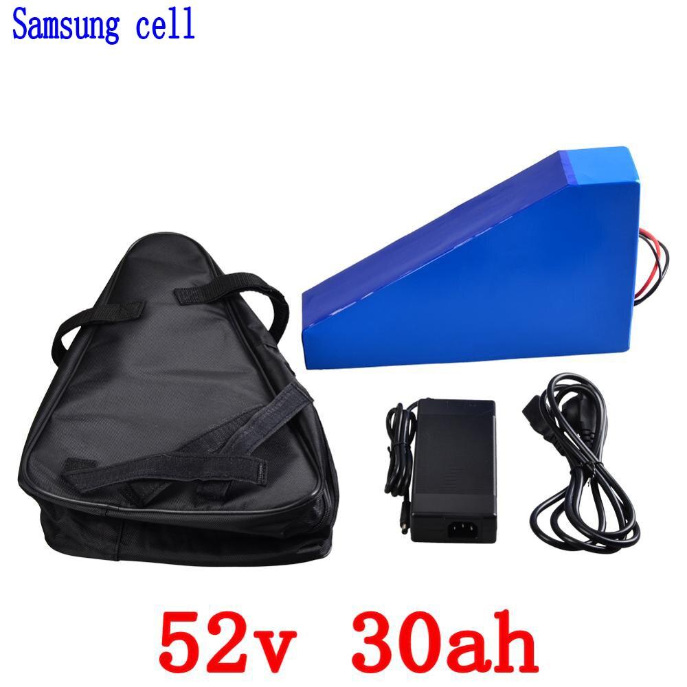 52 v 30AH vélo électrique batterie 52 v 2000 w Triangle batterie pack 52 v 30AH Au Lithium ion batterie avec 50A BMS + 58.8 v chargeur + sac