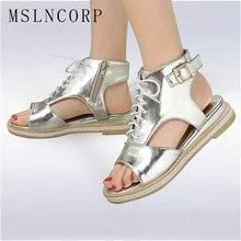 Plus Size 34-43 Fashion Women Sandals Flats Lace up Peep Toe Ladies Low Heels Summer Shoes gladiator Vintage Rome Beach Shoes цены онлайн
