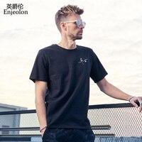 Enjeolon Brand 2018 Cotton T Shirt Men 2 Color Bird Solid Clothing O Neck Short Sleeve