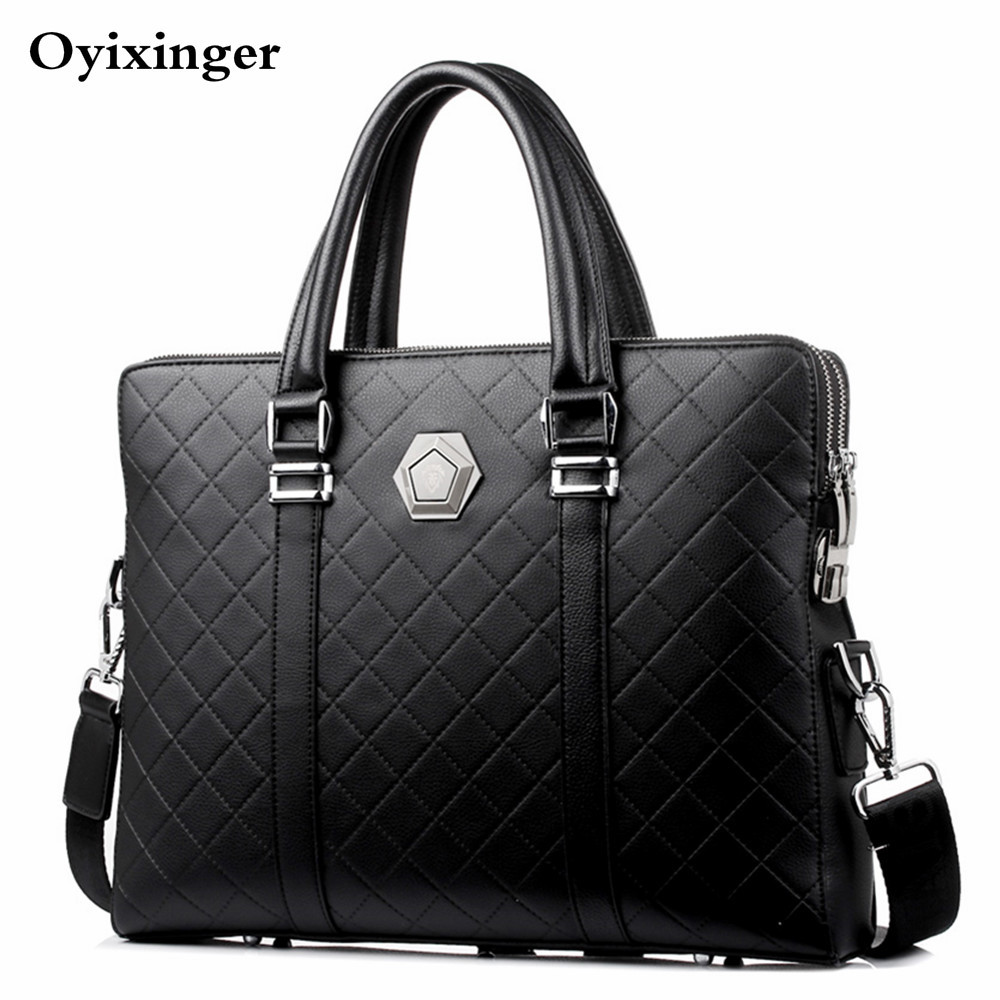 Men Business Briefcase Leather Handbag New Design Coded Lock Shoulder Crossbody Bag Male Messenger Double Layers Anti-theft Bags