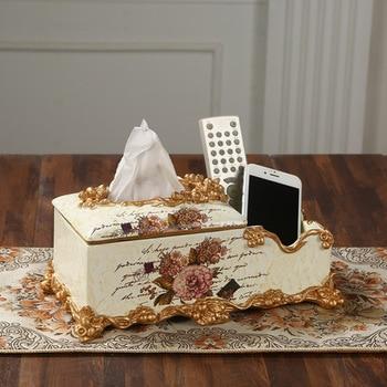 European style multifunctional tissue box napkin box American box Home Furnishing retro household living room decoration