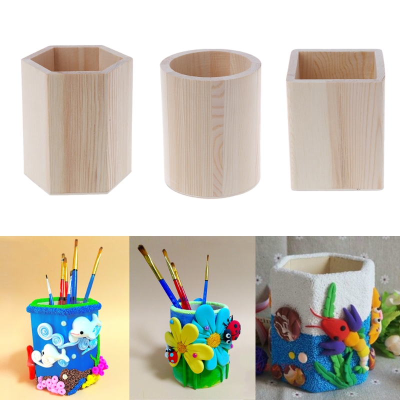 Desk Organizer Wooden Holder Pencil Pen Box Kids DIY Coloring Case Clay Tools