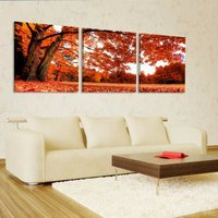 Canvas Print For 3 Panels Red Tree Painting Wall Art Picture Print On Canvas High Definition