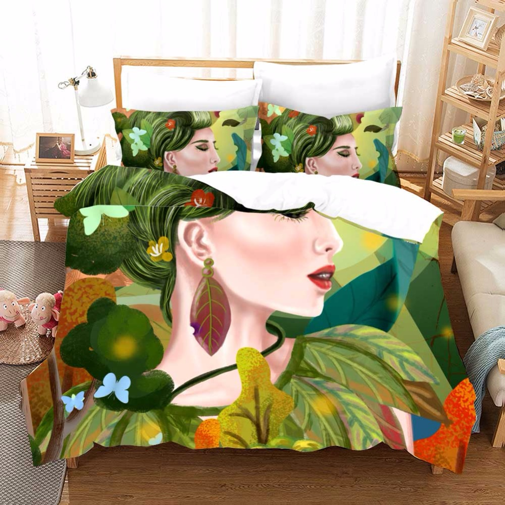 Natural goddess Designer Bedding Set Queen Duvet Cover Galaxy Painting Gothic Bed Set 3 Piece Cool Bedclothes Sheets F