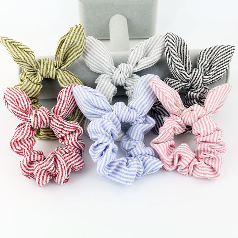 Free Shipping Fashion Women Rabbit Ear Striped Hair Bands Bunny Hair Scrunchies Girl's Hair Tie  Accessories Ponytail Holder