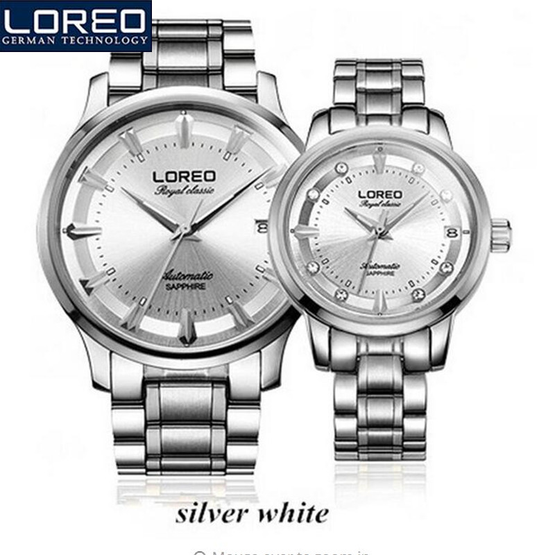 LOREO Luxury Lover's Couple Watches Men Auto Date Waterproof Stainless Steel Quartz Wristwatch Montre Homme Wedding Gift AB2122 longbo men and women stainless steel watches luxury brand quartz wrist watches date business lover couple 30m waterproof watches