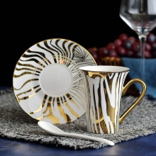 Gold plated tree pattern trumpet mouth cup and dish set of high-grade ceramic coffee cups Spoon delivery Hotel Club