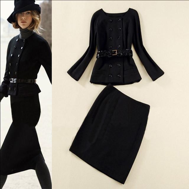 Freeshipping Europa y América ropa de mujer set moda de nueva OL alta calidad delgada chaqueta pequeña falda de $ number piezas set traje con cinturón