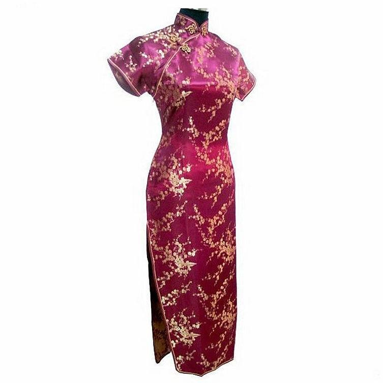 Satin Longue Qipao Robe Mujer Vestido fleur taille S M L XL XXL XXXL - Vêtements nationaux - Photo 4