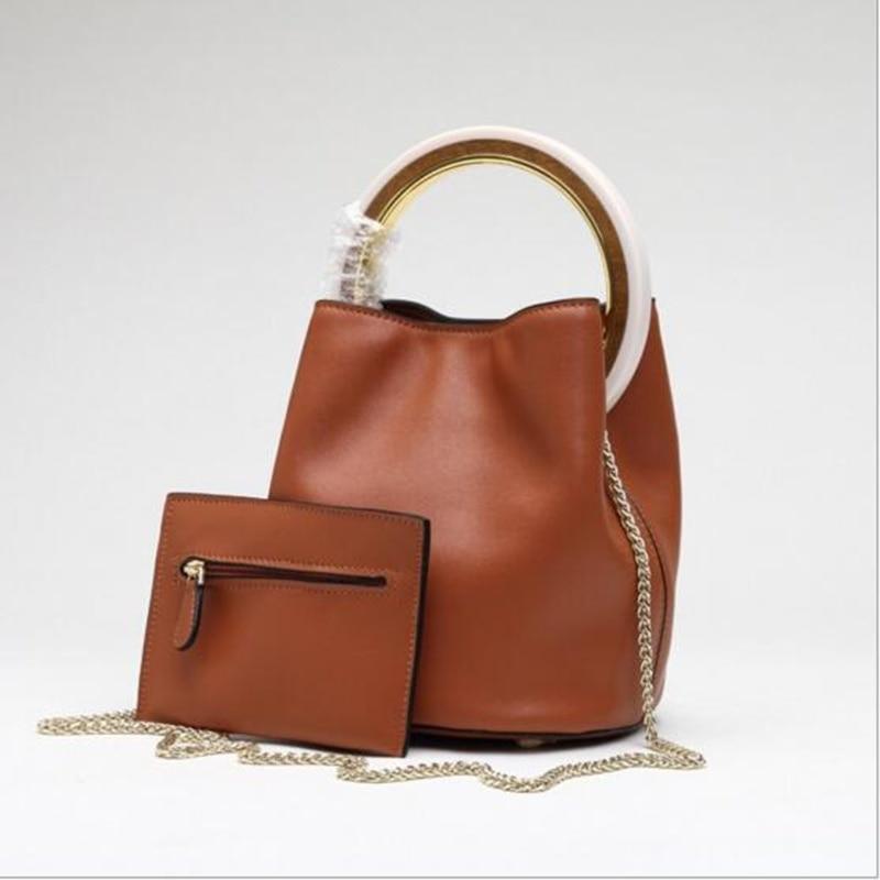 Cecelia Bucket 100% Cowhide Leather Bag Women Real Genuine Leather Shoulder  Brand Handbag Desinger Ladies Crossbody Bags