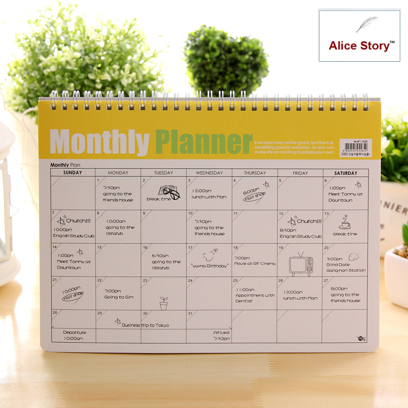 Monthly Planner &free note(no fixed year) 28x21cm B5 coil spiral calendar journal note udom no 12 bangkok