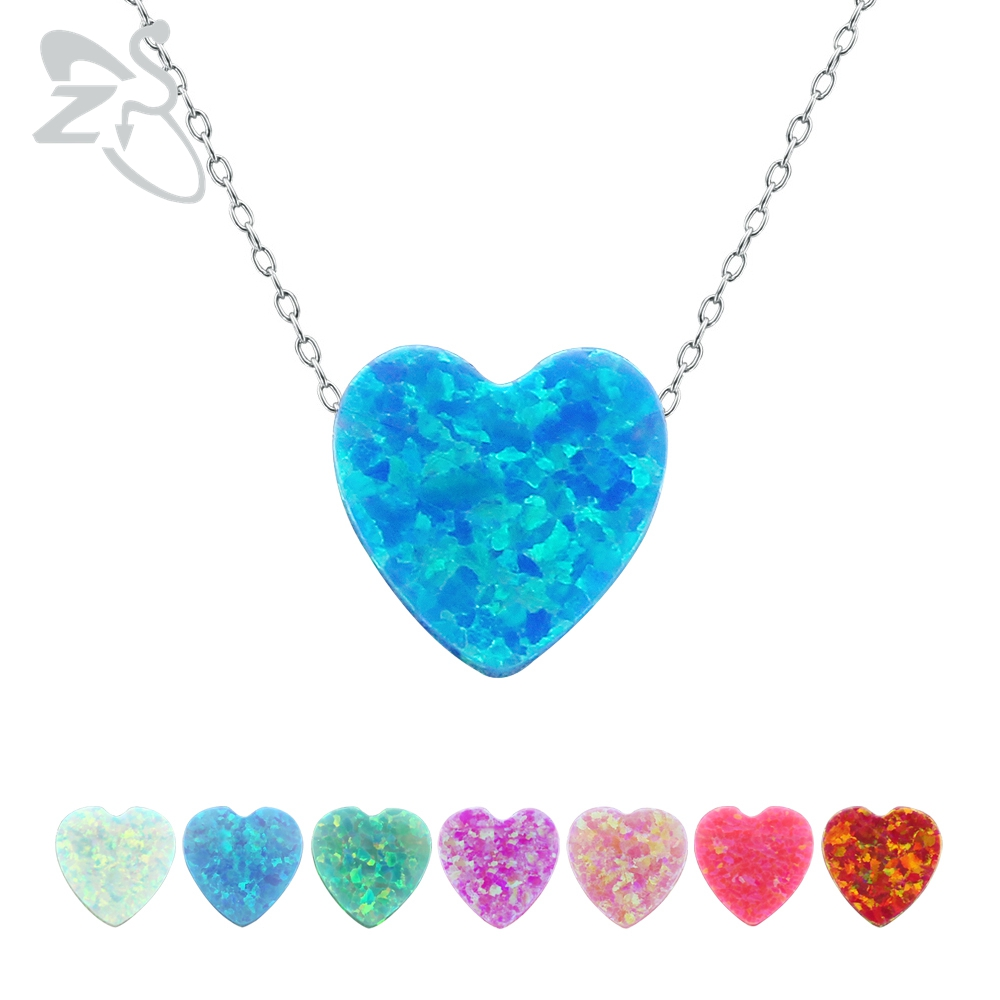 Heart opal pendant necklace heart necklace silver chokers necklaces for women 925 sterling silver jewelry mujer christmas gifts