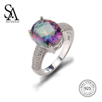 SA SILVERAGE 925 Sterling Silver Colorful Stone Wedding Rings For Women Fine Jewelry Luxurious Zircon Ring