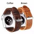 Fohuas crazy-cavalo grain pulseira de couro genuíno pulseira para apple watch 38mm/42mm
