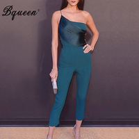 Bqueen Women Runway Jumpsuits One Shoulder Romper Jumpsuit Sexy Tassel Party Club Bodycon Bodysuit Summer Hot 2019
