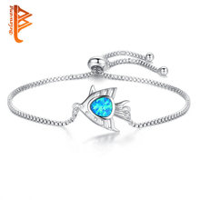 BELAWANG Nature Stone Blue Opal Fish Charm Bracelet Silver Jewelry Handmade Adjustable Bracelet For Women Children Bijoux(China)