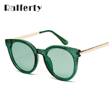 Ralferty Sunglasses Women Brand Designer Korean Ladies Sun Glasses UV400 Transparent Glasses Green Eyewear Accessories 50618