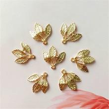 SEA MEW 10 шт 20 мм Модные металлические сплава KC золотые подвески в форме листьев для изготовления ювелирных изделий