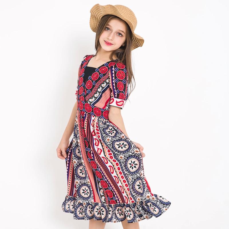 Bohemian Style Beach Dress Girls Summer Cool Cothing Teenager Girls Sundress Children Kids Girls Party Princess