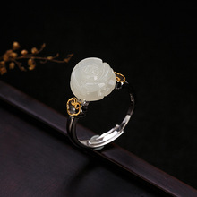 One deer silver S925 pure silver gilded natural Hetian jade rose ring, retro character, multi touch female ring ornament character silver product s925 pure silver jewelry fashion earrings wholesale handmade lady hetian jade earrings