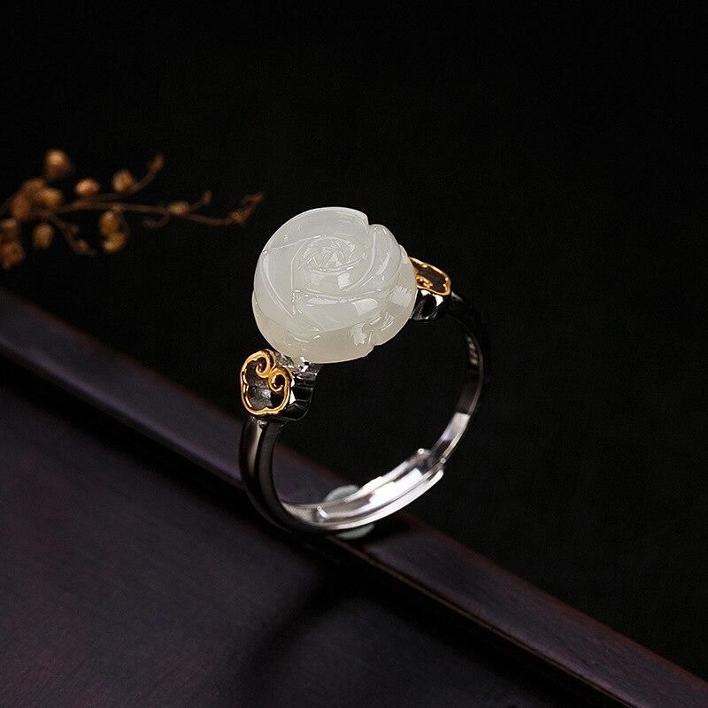 Un cerf argent S925 pur argent doré naturel Hetian jade rose anneau, caractère rétro, ornement de bague femme multi touch