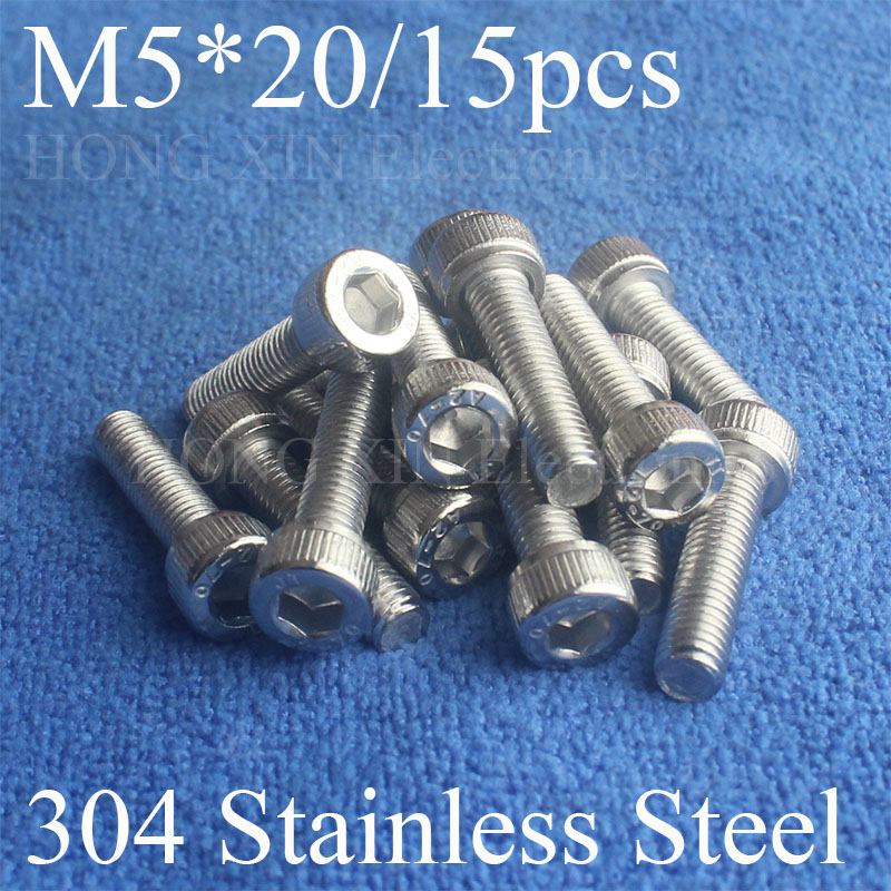 15Pcs M5*20 304 Hexagon Socket Head Cap Screws Hex Socket Screw Furniture Metric Bike Bolt screw set stainless steel screws Bolt m4 x 12mm alloy steel hex bolt socket head cap screws black 50 pcs