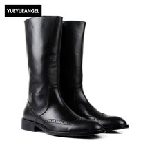 Итальянские зимние мужские сапоги до колена в байкерском стиле с перфорацией типа «броги», роскошные Армейские Ботинки martin из натуральной кожи, черная Армейская Обувь для мужчин