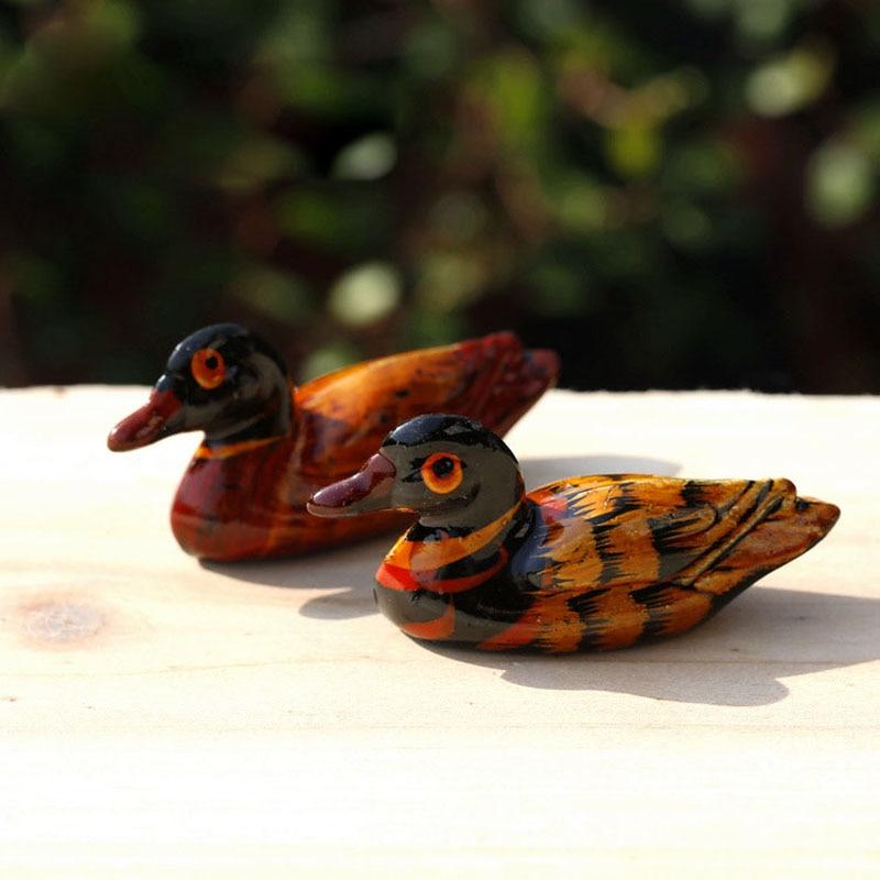 Miniature, Artificial Mini Painted Wood Mandarin Duck Micro ...