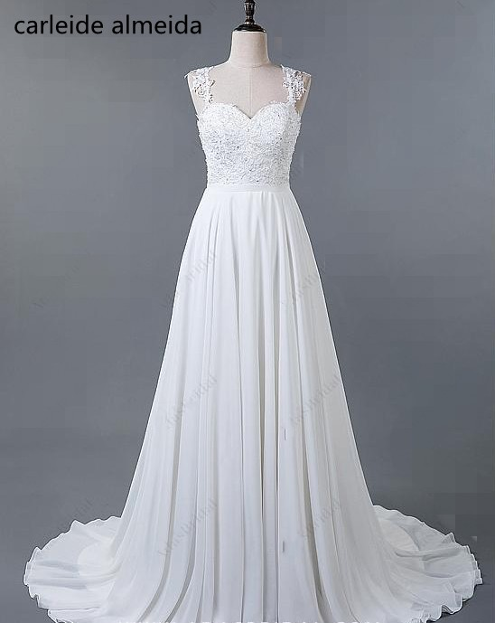 Vestidos de Novia A-Line Chiffon Bride Dress Lace Appliques Beach Wedding Dress Gelinlik Cross Back Trouwjurk Abito da Sposa