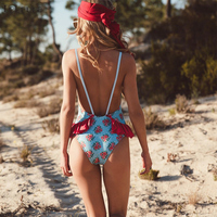 2018 Sexy One Piece Swimsuit Women Swimwear Print Monokini Swim Suit Ruffle Bodysuit Bathing Suit Backless Beach Wear Female 1