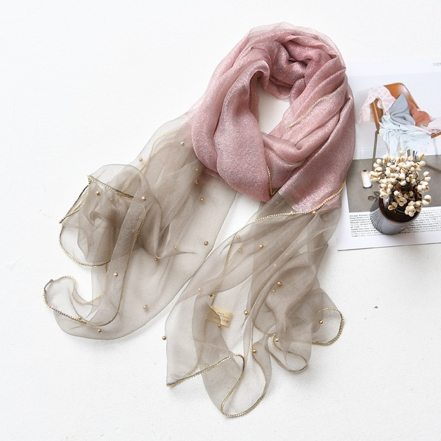 4cacc4b75 Spring And Summer New Silk Scarf Female HighGrade All-Match European Root  Beaded Gold Silk
