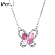 IOGOU Colorful Butterfly Halo Pendant Neckalce 925 Sterling Silver Cross Chain Birthday Party Show Jewelry Gifts for Young Lady