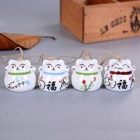 Ceramic Windchimes Lucky Cat Pendant Wind Chimes Car Ornament Hanging Miniature Home Decoration Figurine Ceramic Wind Chimes