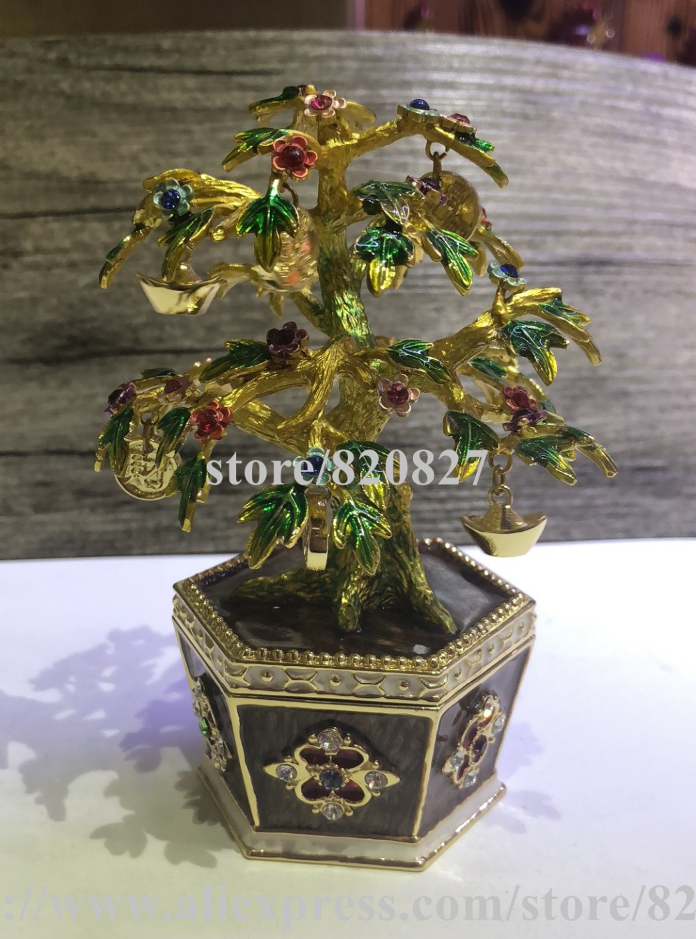 Bonsai Blossom Tree Trinket Box Source Money Tree Treasure Box with Coins & Gold Ingot Fengshui Fortune Bring Tree Statue Gift 8 chinese fengshui bronze copper five way mammon gold ingot snake wealth statue sd 506