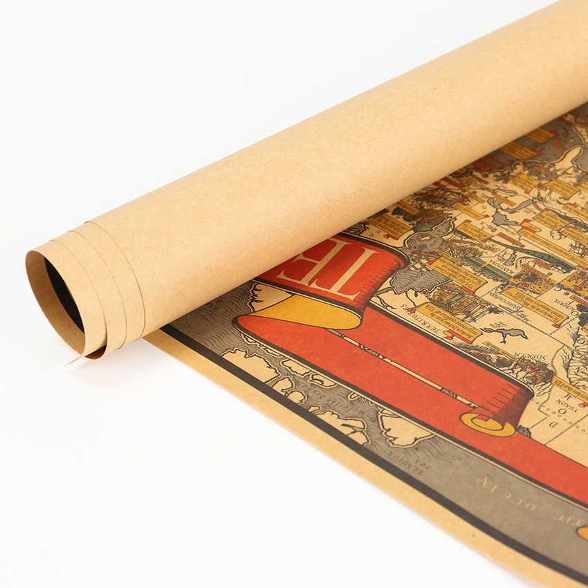วัฒนธรรมชาแผนที่ Kraft กระดาษโปสเตอร์บาร์ Retro โปสเตอร์ภาพตกแต่งสติ๊กเกอร์ติดผนัง 72.5x35.5 ซม.
