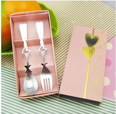 Кухня столовая посуда столовые сервизы с принтом сердца и смайлика вилка и ложка из нержавеющей стали для свадебного подарка 10 комплектов в каждом из компл./лот - Цвет: C