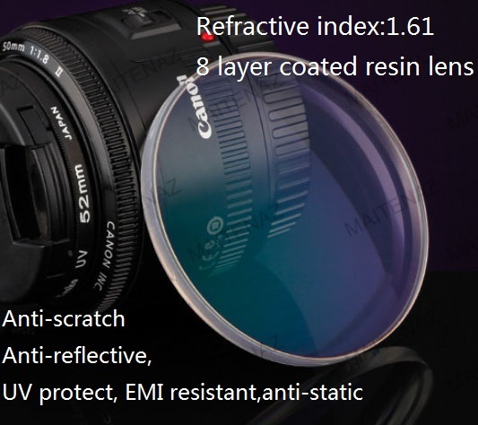 custom made high quality 1.61  aspherics myopia optical resin lens for nearsighted,8 layer coated