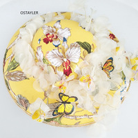 Handmade Yellow Embroidery Wedding Hat For Women Large Vintage Buttferfly Fascinator Hat Cocktail Party Photo Shoot Headwear