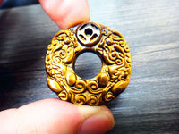 Koraba Fine Jewelry Natural Yellow Tiger Eye Stone Hand Carved Round Pi Yao Charm Pendant Necklace Free Shipping