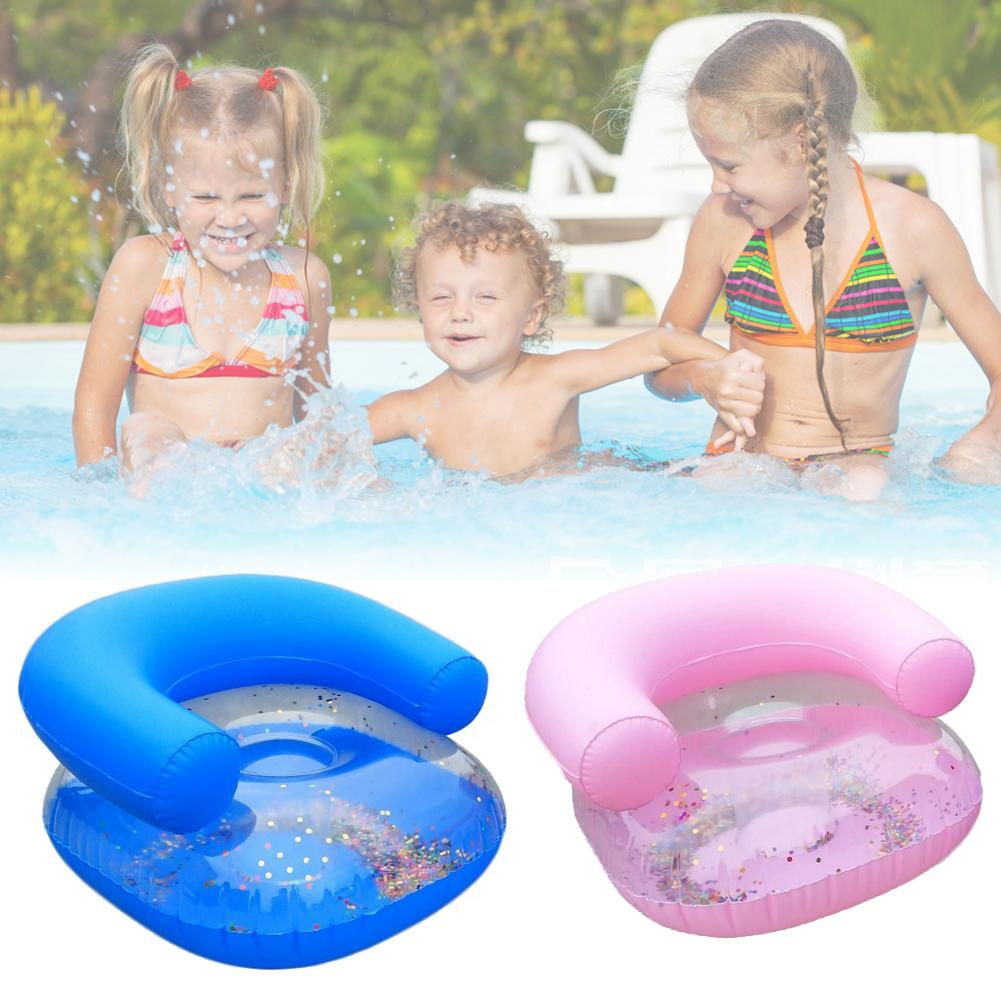 Professional 1pc Inflatable Sofa Toy Swimming Accessory PVC Seat For Children - Blue/Pink