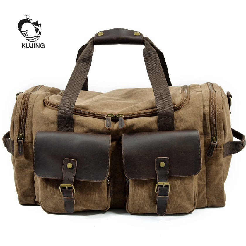 KUJING Brand Men Bag Hot Canvas Shoulder Messenger Bag Luxury Travel Large-capacity Handbag Quality Travel Leisure Package Cheap big canvas handbag brand high quality large capacity shoulder bag 100% cotton leisure and travel bag for women contracted joker