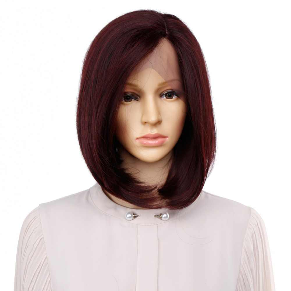 Amir Short Straight Bob Wig Wine Red Short hair Wigs Black Cosplay Synthetic Lace Front Wigs for Girls Side Part