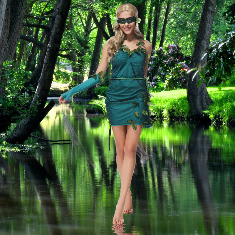 Green Beauty Elf Dress Forest Tree Goddess Costume