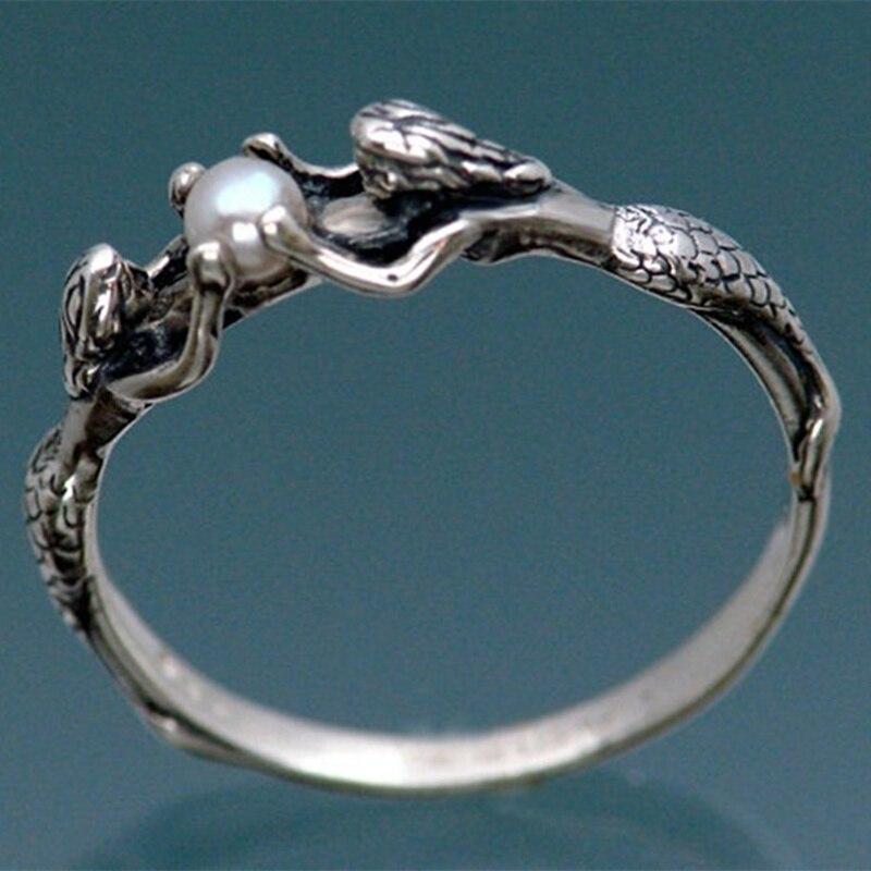 Женские обручальные кольца с жемчугом, две величественные кольца русалки для невесты, ювелирные изделия для женщин, антикварные Серебристы...