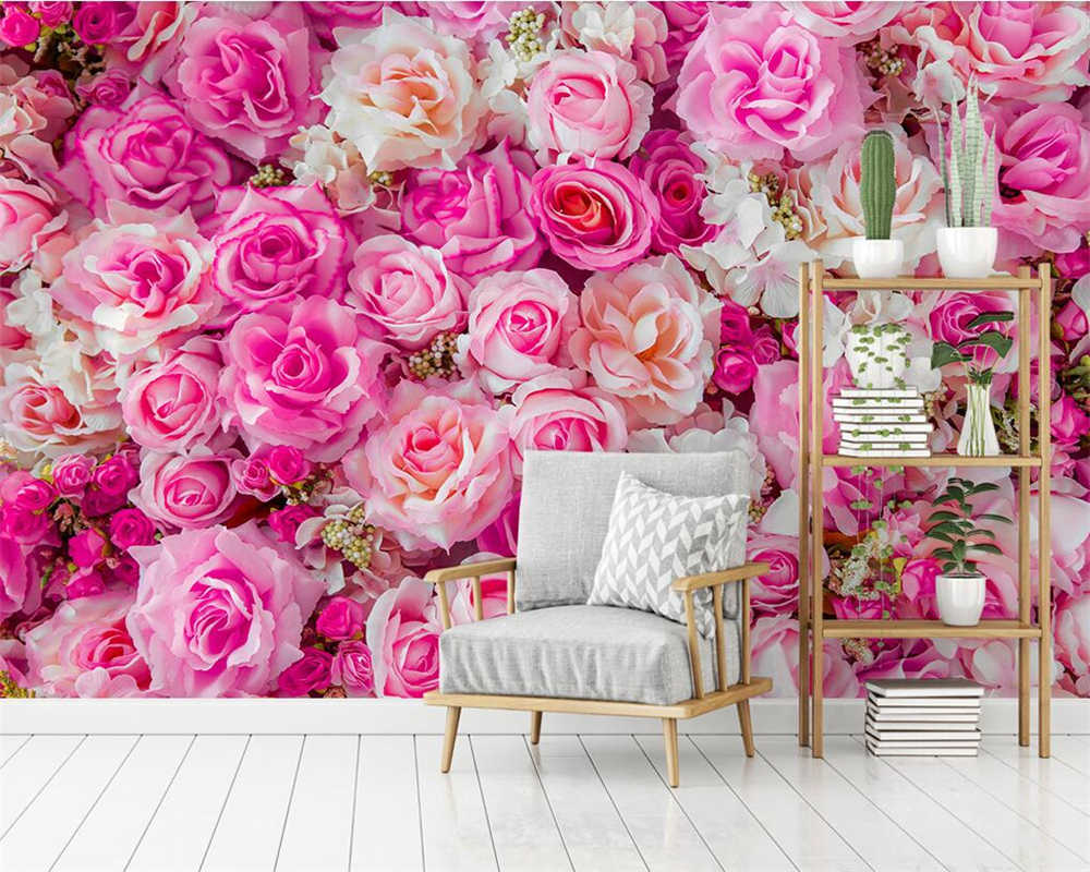Beibehang Custom wallpaper Nordic modern pink roses TV background wall home decoration living room bedroom murals 3d wallpaper