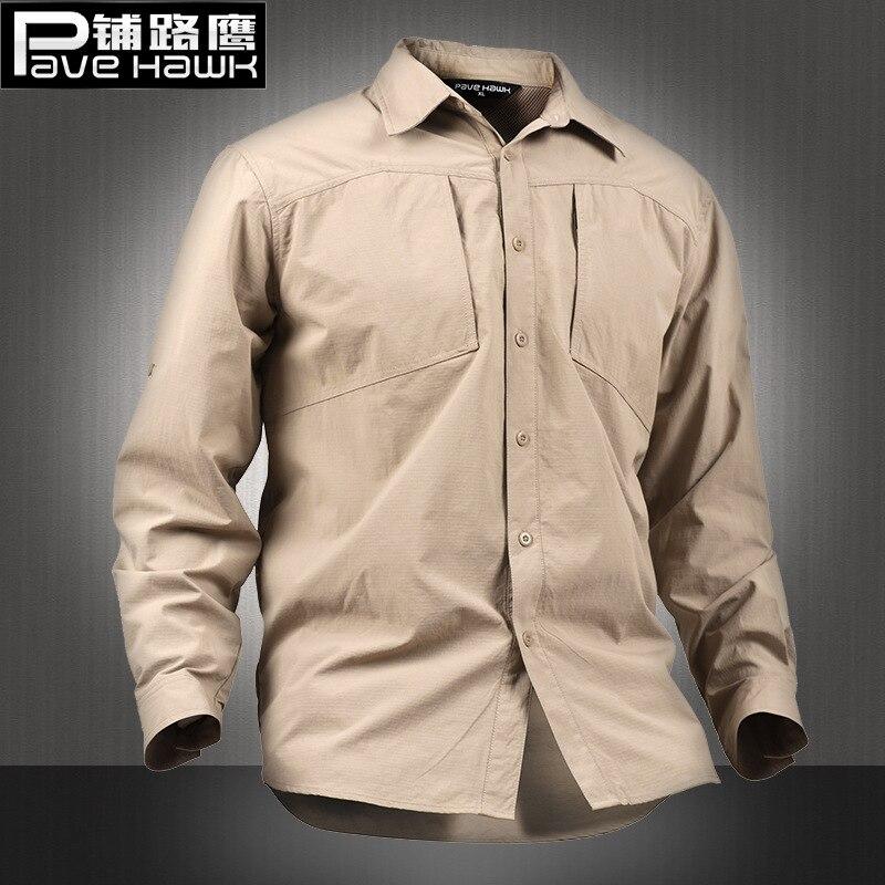 Style militaire chemise tactique hommes téflon Nylon respirant séchage rapide en plein air randonnée chemises à manches longues SWAT Combat armée chemises