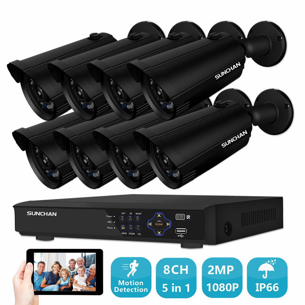 SUNCHAN 8 Canaux AHD 1080 P Vidéo de Sécurité DVR Caméra de Surveillance Kit 8x2.0 MP Extérieure IR Intempéries Caméras PAS de DISQUE DUR
