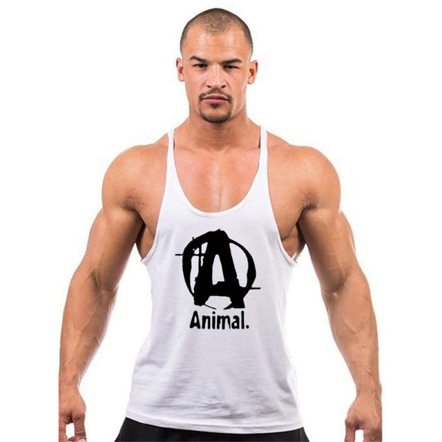 a51567981fb37 Pro Men Muscle 100% Cotton Animal Tank tops bodybuilding Equipment Stringers  Men s Y BACK Racer Vest fitness Workout Tops