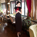 Free shipping chinese dresses Chinese Traditional Dress Black White Long Qipao Cheongsam dress Faux Silk Floral Long Dress